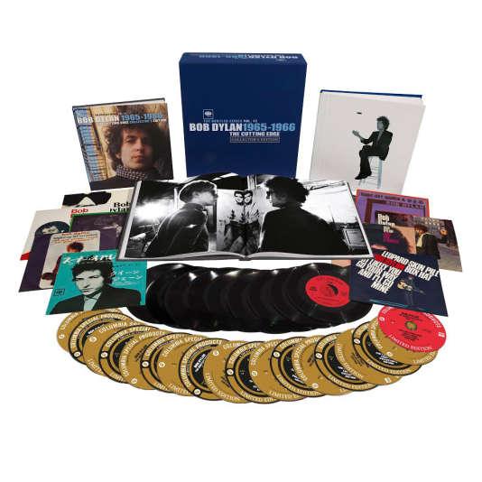 Présentation de l'édition limitée en 18 CD et 9 disques vinyle 45-tours de « The Cutting Edge 1965-1966 », de Bob Dylan.