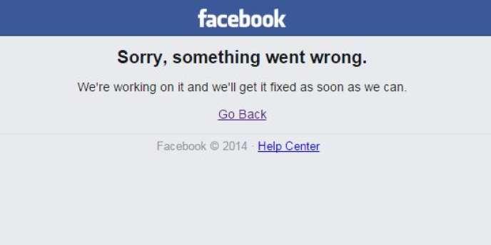 Ce message d'erreur, parmi d'autres, s'affichait jeudi 24 septembre au soir quand les internautes tentaient de se connecter à Facebook.