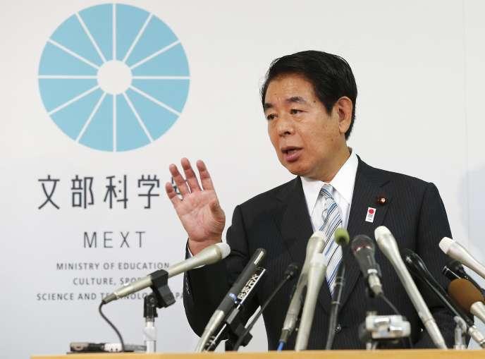 En conférence de presse, vendredi 25 septembre, le ministre japonnais démissionnaire Hakubun Shimomura.