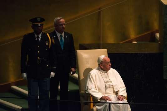 Le pape après son discours à l'Assemblée générale de l'ONU, le 25 septembre.