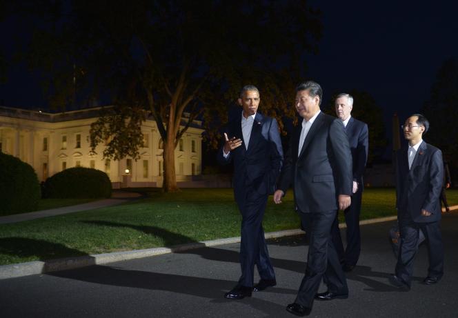 Barack Obama et son homologue chinois, Xi Jinping,devant la Maison Blanche, à Washington, le 24septembre.