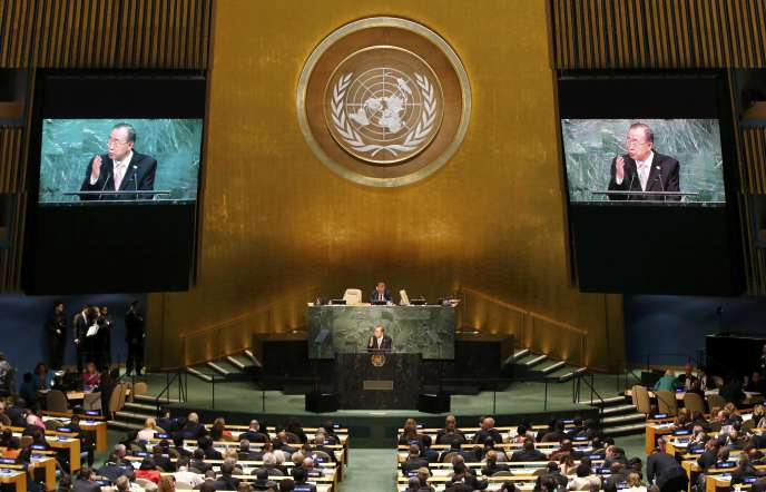 Le secrétaire général des Nations unies, Ban Ki-moon, pendant Assemblée générale de l'ONU, à New York, le 25 septembre.