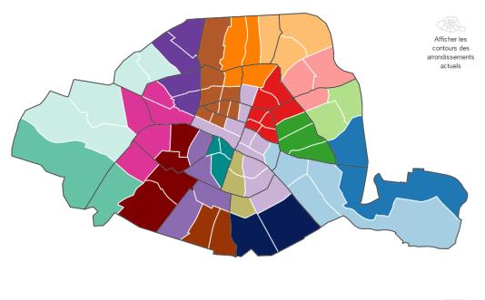 Redécoupez les arrondissements de Paris.