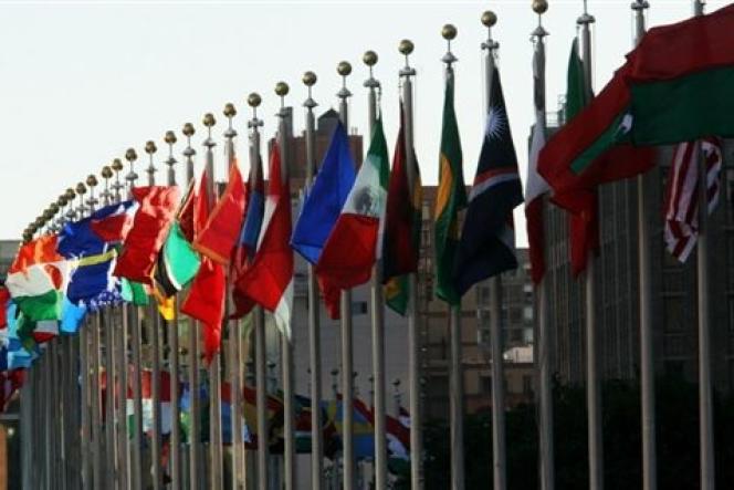 Les drapeaux des membres des Nations unies à New York.