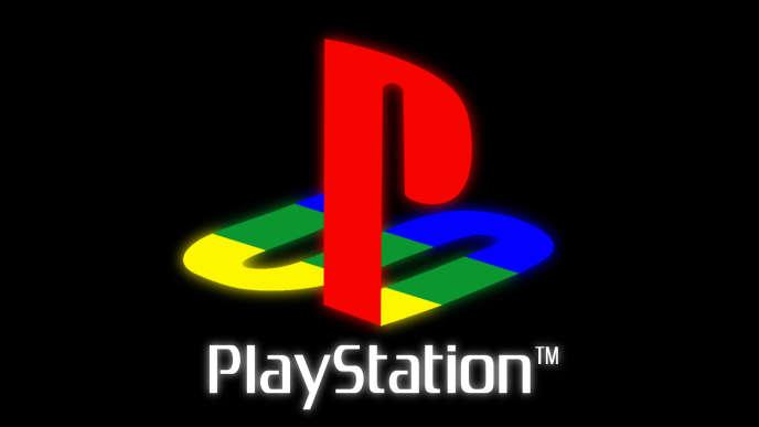 L'emblématique logo de la première PlayStation, console de Sony au succès planétaire.