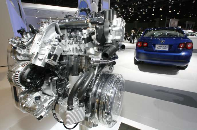 Un moteur turbo diesel Volkswagen au salon de l'automobile de Los Angeles en 2008.