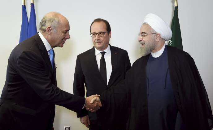 Laurent Fabius, Francois Hollande et Hassan Rohani, le 27 septembre 2015, à New York.