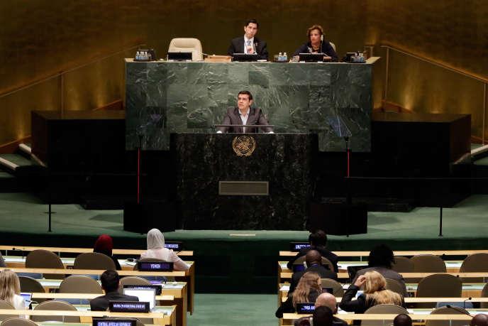 Devant l'hémicycle de l'ONU, dimanche 27 septembre, Alexis Tsipras a qualifié la dette publique de « défi international, qui se trouve au centre du système financier »