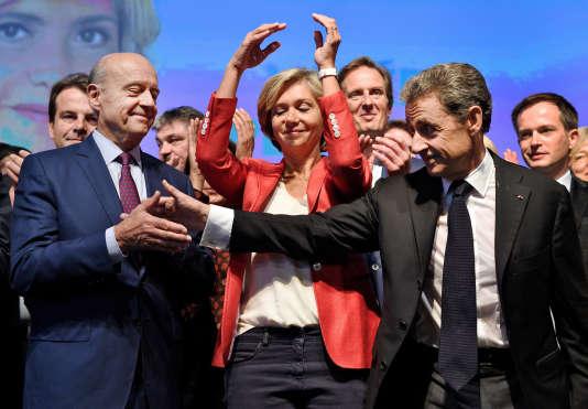 Meeting de Valérie Pécresse pour les élections régionales à Nogent sur Marne le 27 septembre 2015. Alain Juppé, Valerie Pécresse, Nicolas Sarkozy, Président des Républicains