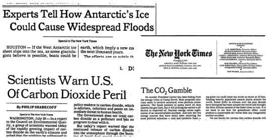 """Articles publiés en 1979 dans le """"New York Times"""" sur la question climatique."""