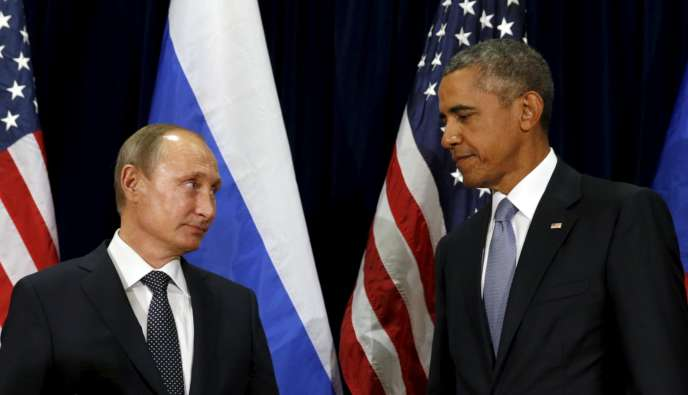 Barack Obama et Vladimir Poutine à New York, le 28 septembre 2015.