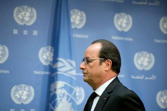 François Hollande après ses déclarations sur l'intervention française en Syrie, en marge de l'Assemblée générale de l'ONU à New York, dimanche 27septembre.