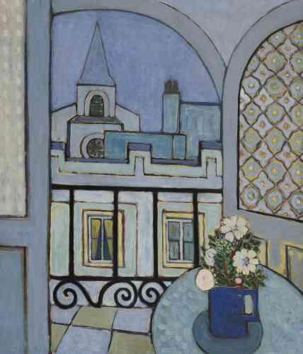 « Wifredo Lam a peint ce tableau en 1935 à Madrid, chez son ami Faustino Cordón. Dans cet intérieur, le traitement de la perspective et les motifs décoratifs révèlent l'attention qu'il porte au travail de Matisse à cette époque. »