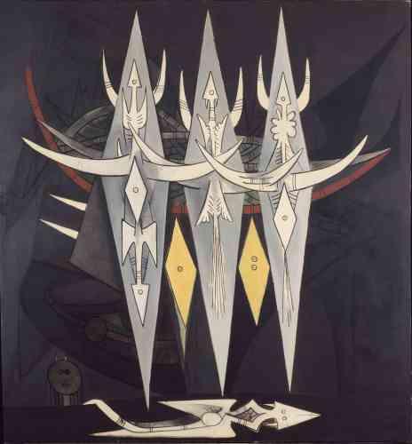 """« Dans """"Umbral"""" (qui signifie """"le seuil""""), les figures géométriques associent plusieurs registres symboliques ésotériques empruntés aux cultes afro-cubains (anaforuana et vévé) autant qu'à l'imagerie franc-maçonne. »"""