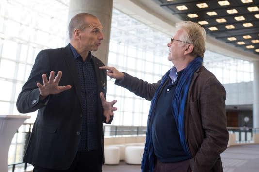 Yanis Varoufakis et Daniel Cohn-Bendit à l'Opéra Bastille. Le 27 septembre 2015.