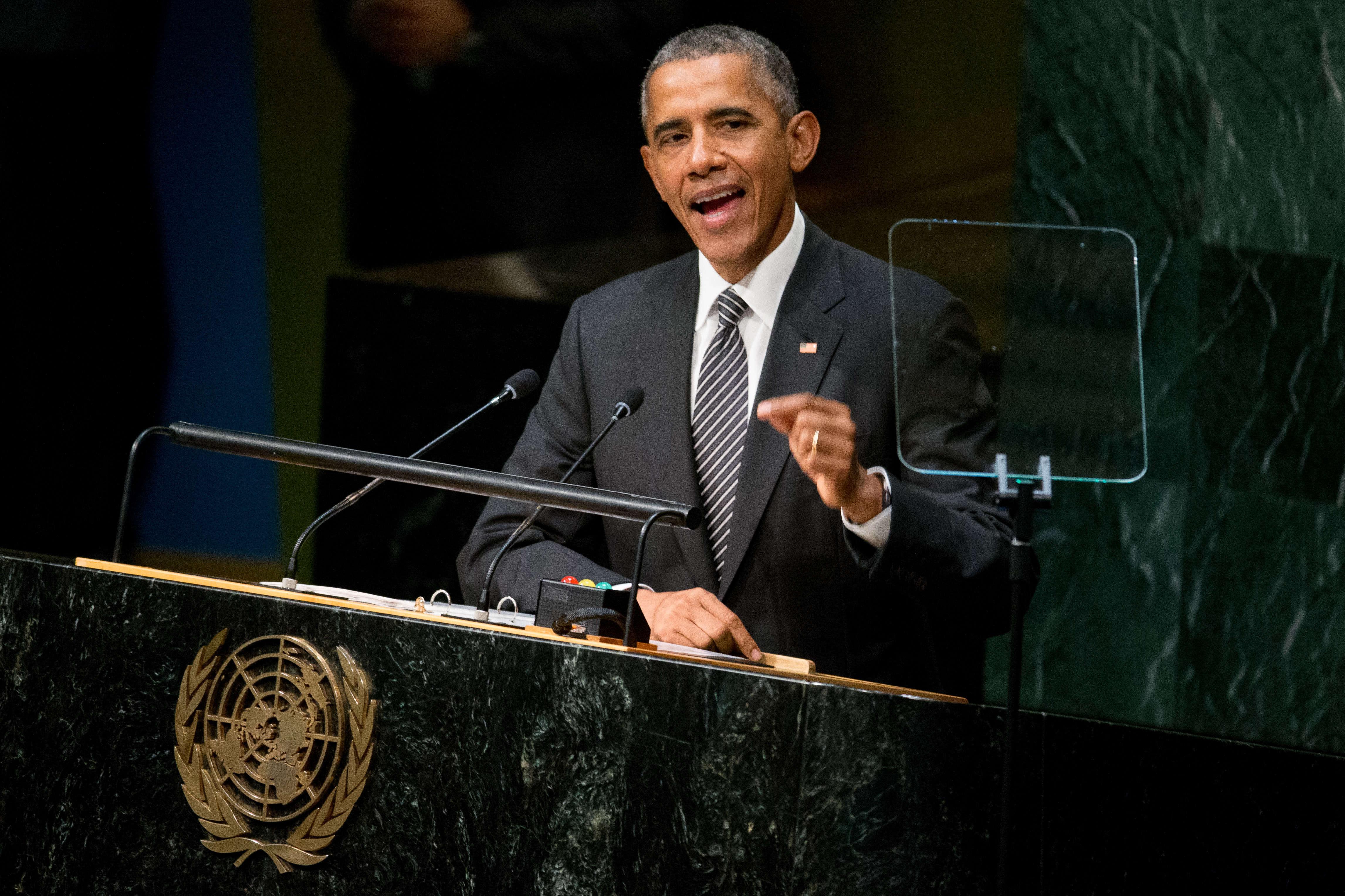 """Barack Obama a dénoncé à la tribune de l'ONU le soutien apporté par la Russie au """"tyran"""" syrien Bachar Al-Assad."""