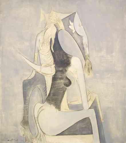 """« La femme-cheval renvoie à l'état de transe et de possession qui s'empare du sujet au cours des cérémonies rituelles afro-cubaines ou vaudou en Haïti (le sujet est alors """"chevauché"""" par l'esprit ou la divinité) auxquelles Lam a pu assister en compagnie de Pierre Mabille et André Breton. Dans ces figures, il associe, avec élégance et une fantaisie non dénuée d'ironie, ce monde sacré aux formes du portrait classique. »"""