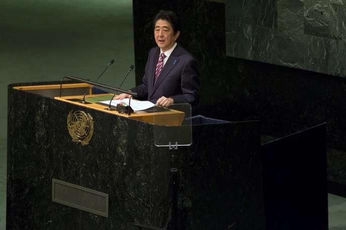 Le premier ministre japonais, Shinzo Abe, lors de son discours devant l'Assemblée générale des Nations unies, le 29 septembre.