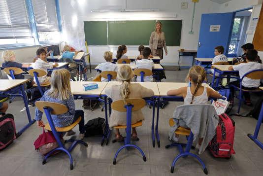 Des écoliers, dans une classe de Marseille, le 2 septembre 2014.