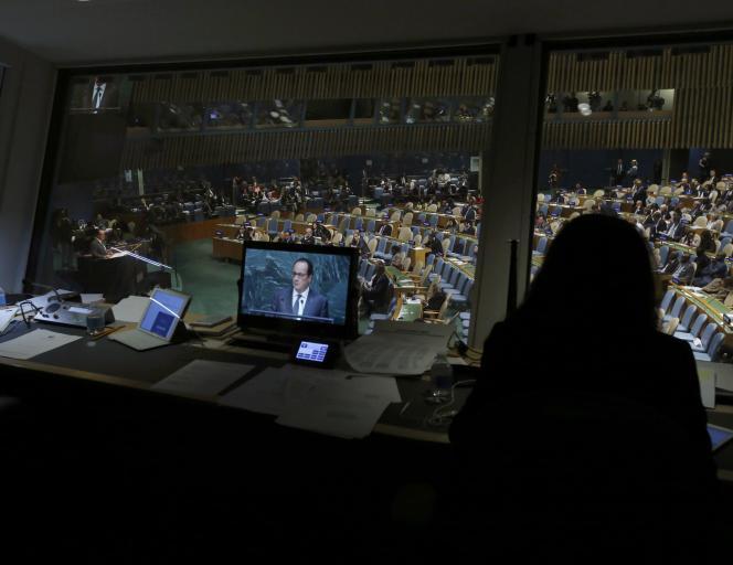 Durant le discours de François Hollande durant l'assemblée générale de l'ONU à New York le 28 septembre 2015.