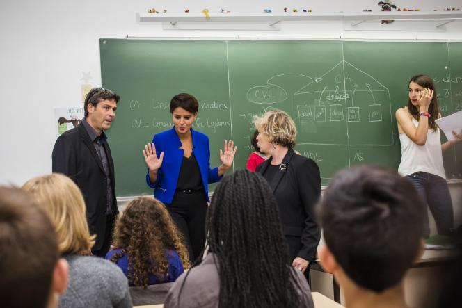 Visite du lycée Condorcet dans le cadre de la 3e édition des Semaines de l'engagement lycéen, en présence de Najat Vallaud Belkacem, Ministre de l'Education, le 22 septembre à Paris.