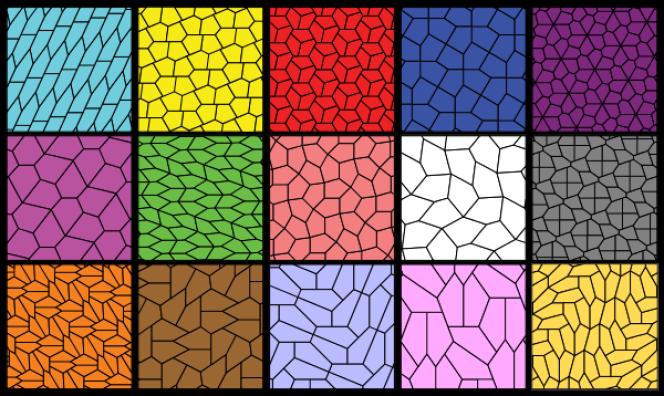 Les 15 pavages pentagonaux connus en 2015.