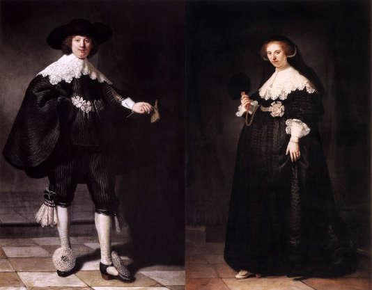 """""""Portrait de Maerten Soolmans"""" et """"Portrait de Oopjen Coppit"""", de Rembrandt."""