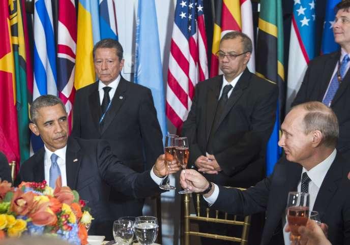 Barack Obama et Vladimir Poutine au siège de l'ONU, à New York, le 28 septembre.