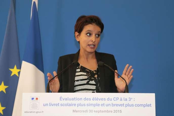 Najat Vallaud-Belkacem, le 30 septembre 2015