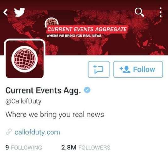 """Capture d'écran du vrai-faux site d'actualités, sous lequel s'est drapé le compte de """"Call of Duty""""."""