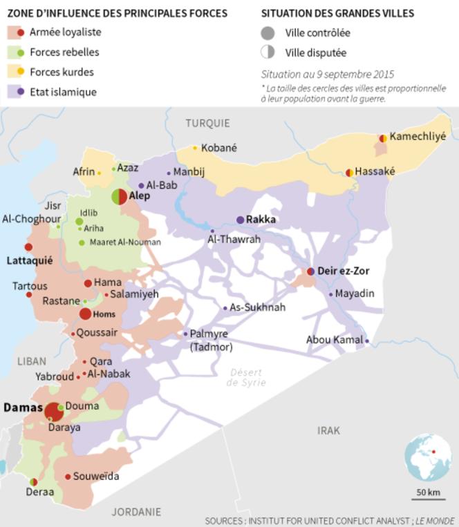 Les zones d'influence des principales forces