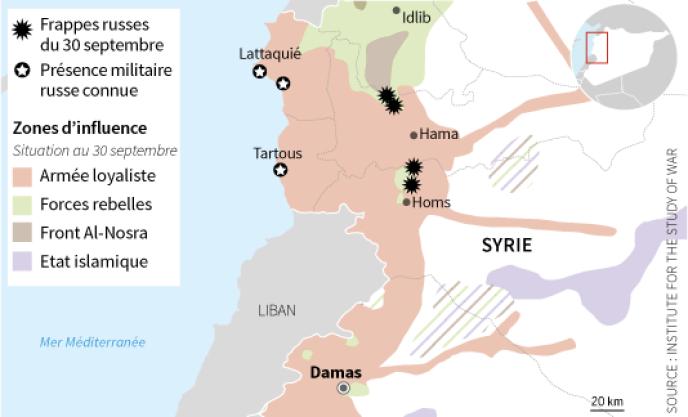 Les frappes russes du 30 septembre 2015 en Syrie.