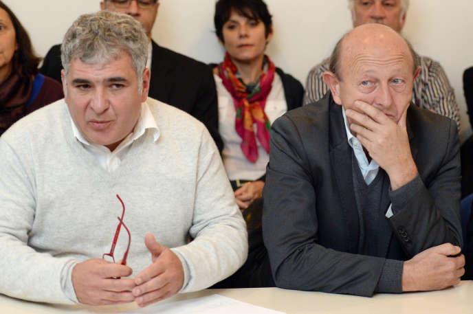 Christophe Madrolle et Jean-Luc Bennahmias, alors candidats MoDem pour les municipales de Marseille, en novembre 2013.