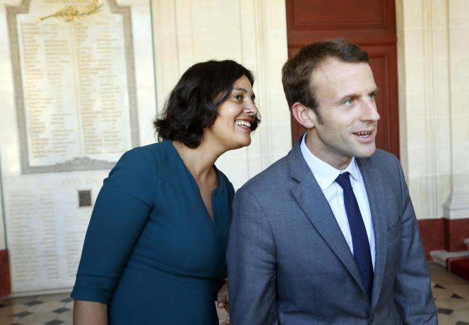 la ministre du travail Myriam El Khomri et le ministre de l'économie Emmanuel Macron, au ministère du travail, à Paris le 29 septembre.