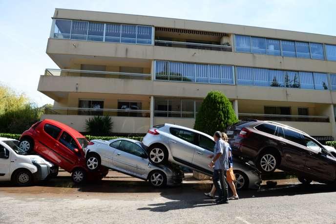 Conséquences des inondations de la veille à Mandelieu-la-Napoule, le 4 octobre.