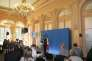 Najat Vallaud-Belkacem en conférence de presse au ministère de l'éducation le 30 septembre, à Paris.