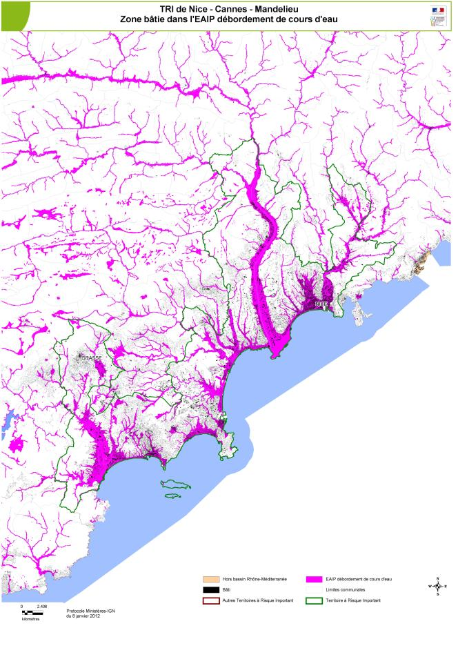 Carte des zones inondables construites dans le secteur Nice-Cannes-Mandelieu.