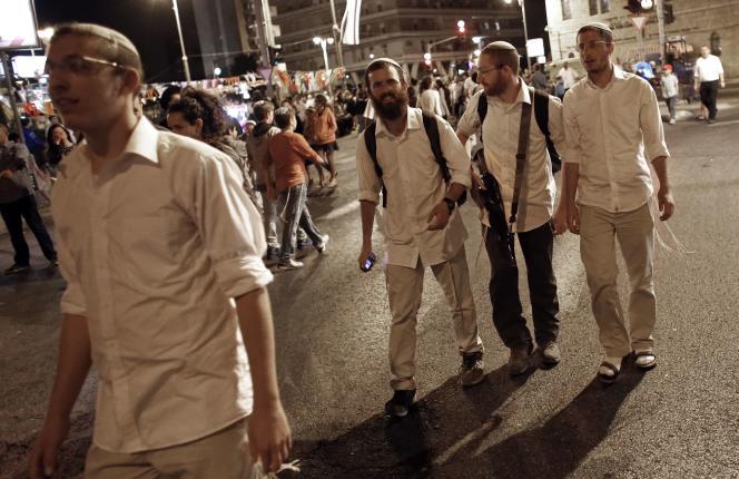 Des manifestants israéliens d'extrême droite, le 5 octobre à Jérusalem.