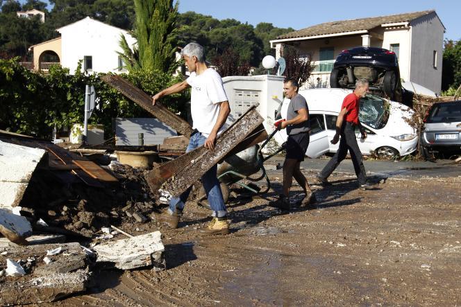 Dimanche 4 octobre, à Biot (Alpes-Maritimes), l'une des communes les plus touchées par les crues.