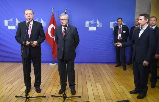 Recep Tayyip Erdogan et Jean-Claude Juncker, le 5 octobre à Bruxelles.