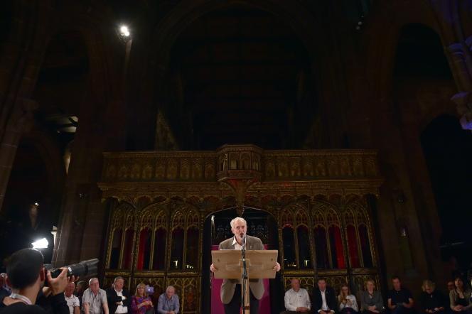 Jeremy Corbyn, le 5 octobre à la cathédrale de Manchester.