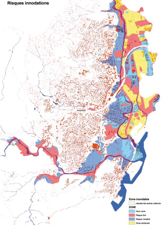 Carte des zones inondables à Mandelieu