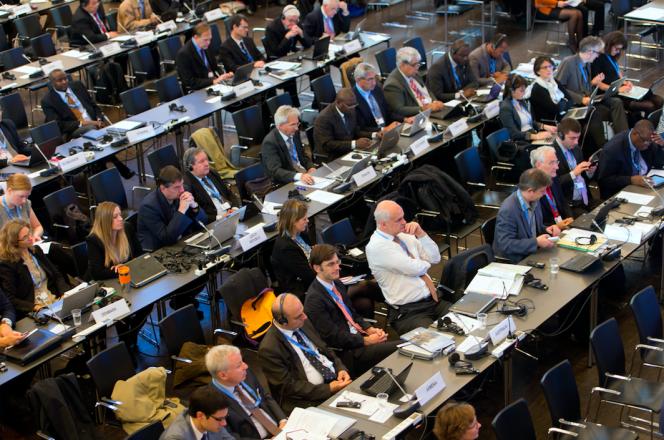 Une réunion du Groupe d'experts intergouvernemental sur l'évolution du climat (GIEC) à Copenhague en octobre 2014.