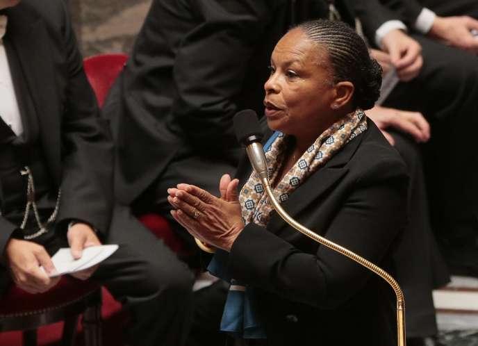 Christiane Taubira lors de la séance de questions au gouvernement, le 6 octobre à l'Assemblée nationale.