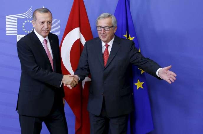 Jean-Claude Juncker et Recep Tayyip Erdogan au siège de la Commission européenne à Bruxelles, le 5 octobre 2015.