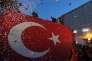 Recep Tayyip Erdogan du haut de sa tribune à Bruxelles pendant sa tournée européenne, le 4 octobre.
