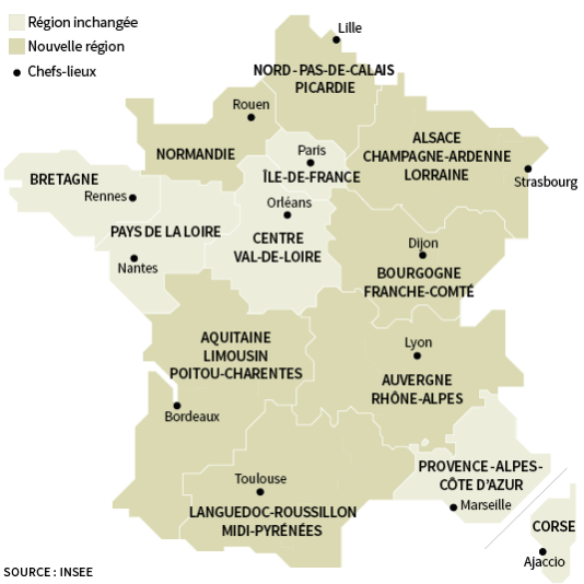 La carte de France des régions, et leurs capitales.