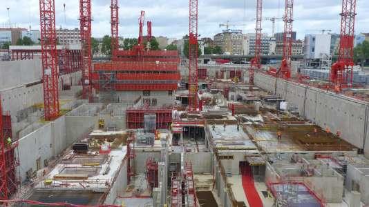 Vue du chantier du Tribunal de grande instance de Paris en mai 2015.