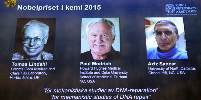 Le Suédois Tomas Lindahl, l'Américain Paul Modrich et le Turc Aziz Sancar ont été récompensés, le 7octobre, du prix Nobel de chimie pour leur étude de la réparation de l'ADN.