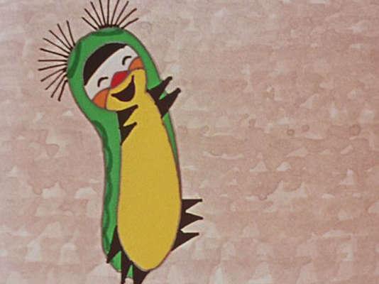 """Une image du programme de deux courts-métrages d'animation tchèque et russe de Zdenek Miler et Fiodor Khitruk, """"Sametka, la chenille qui danse""""."""